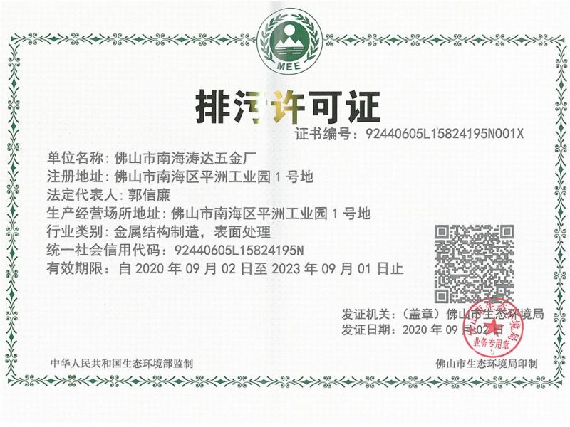 排污许可证展示
